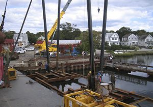 Workers Replacing Shiplift Next to Dock Near Bridgeport, CT