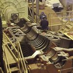 disassembled turbine in Milford, CT power plant