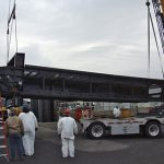 BAC team lowering large machine for service in Bridgeport, CT
